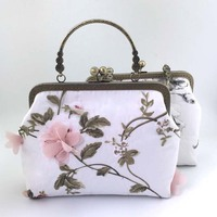 24*18*6.5cm Handmade Organza Fabric Craft Mouth Gold Frame Material Kit Clutch Bag Chain Handbags Messenger Bags