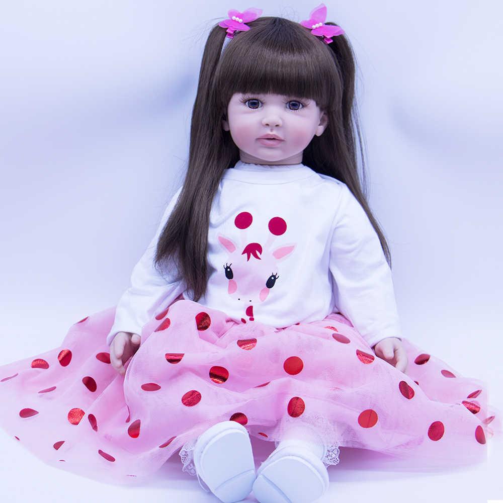 Real Life Dolls 24inch Long Hair Toddler Girls Reborn Baby Dolls with Tutu Skirt