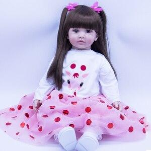 60 см, коричневая силиконовая кукла для новорожденных с длинными волосами, игрушки с милой юбкой «Жираф» для девочек, подарок на день рождени...