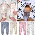 Romirus 2017 primavera do bebê da criança da menina do menino calças de algodão impresso leggings de cintura alta calças harem pants meninos meninas bebe pantalon