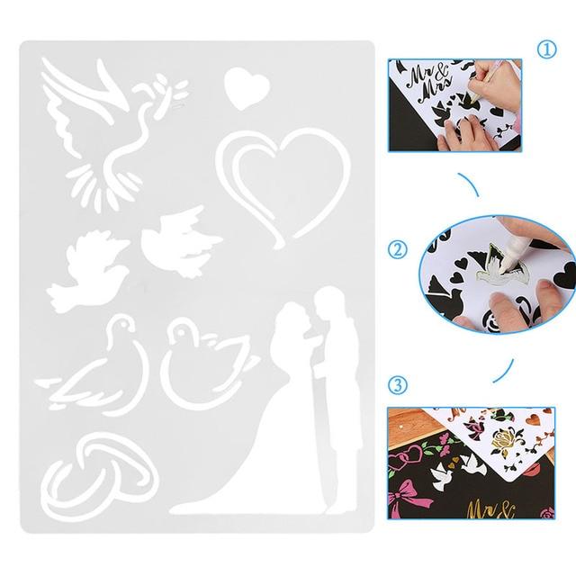 1Pc Wedding Couple Plastic ReusableTemplate Stencil Spray Paint Art