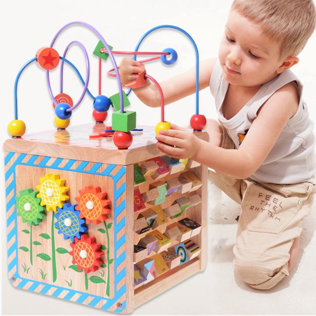 Juguetes de los niños bola redonda Grandes pecho bebé educativos de madera con cuentas multi-funcional tetraedro regalo de cumpleaños