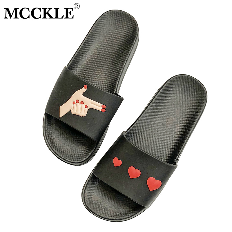 MCCKLE Fashion Women Heart Breaker Slippers Summer Indoor Cartoon Slides For Woman Caual Female Footwear Home Flat Shoes children parents boys girls cartoon bathroom slippers summer women home slippers lovers slides flat with indoor fashion new
