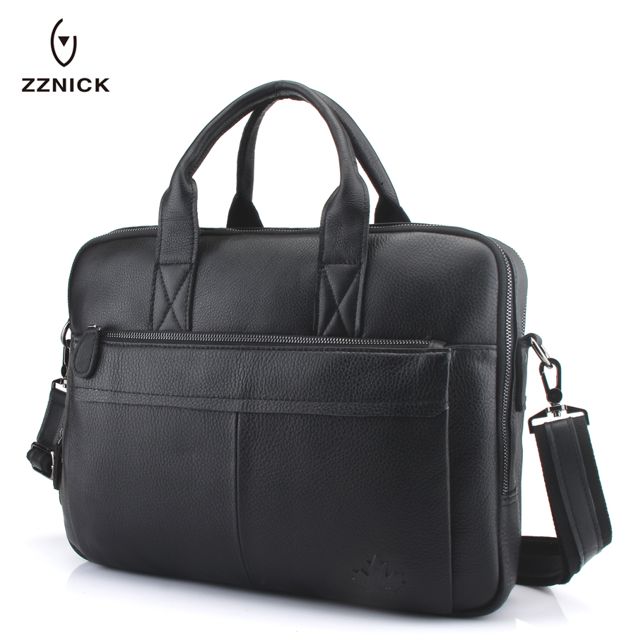 ZZNICK 2020 Men's Genuine Leather Briefcase Male Man Laptop Bag Natural Leather For Men Messenger Bags Men's Briefcases