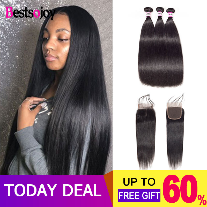 Bestsojoy Straight 3 Bundles With Closure Brazilian Hair Weave Bundles With Closure Human Hair Bundles With