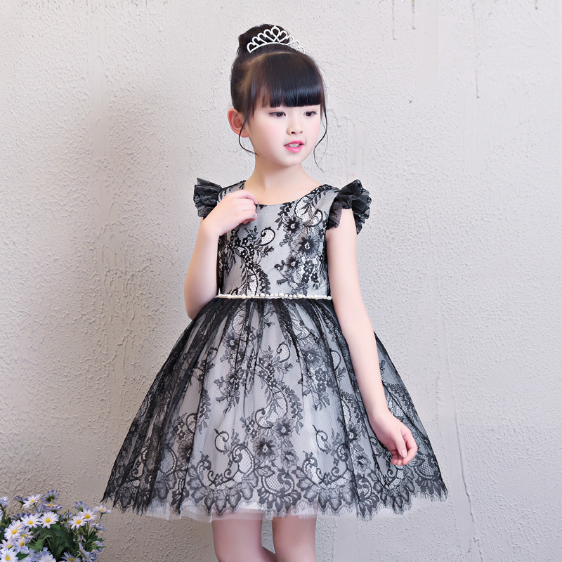 2018 New Ball Gown Lace Flower Girls Dresses Knee-Length Princess Dress Children Summer Dress for Wedding Party Gown E219 new arrival fashion summer girls kids sleeveless flower dress elegant sweet children girls knee length ball gown dress