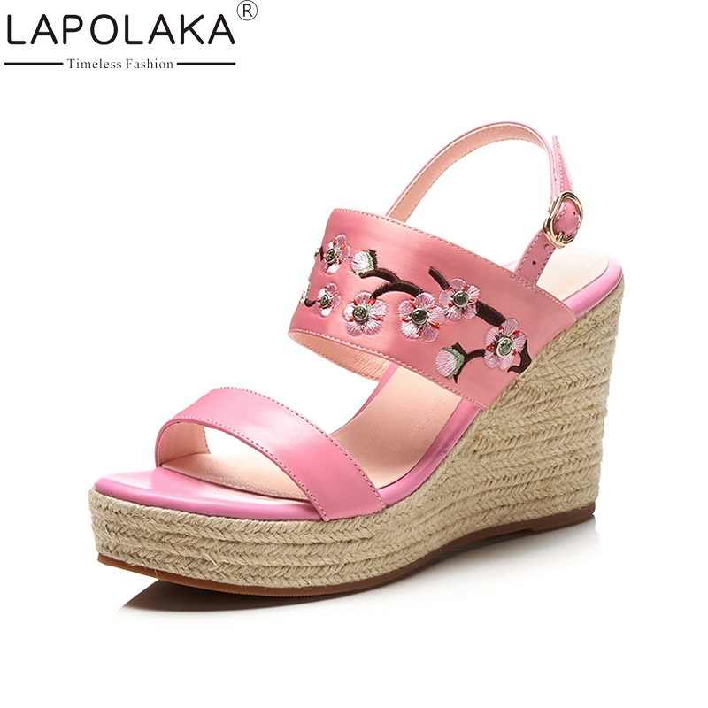 LAPOLAKA 2018 Cow Genuine Leather Summer Sandals Sweet Party Shoes Women Platform High Heels Wedges Embroider Woman Shoes lapolaka 2018 brand new horsehair woman elegant wedges high heel women shoes platform black summer sandals women