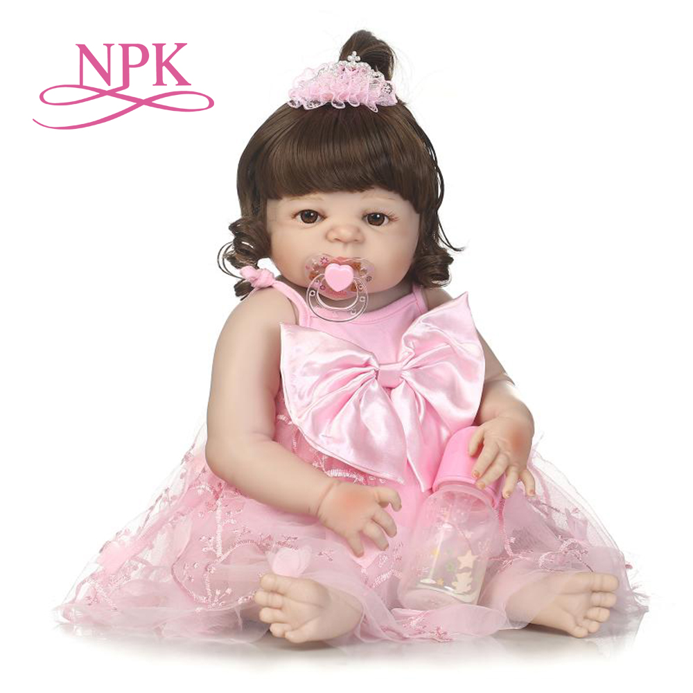 NPK 57cm full silicone svictoria reborn baby with Pink princess skirt best kids gifts silicone reborn baby dolls