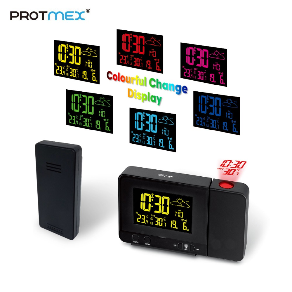 Projection Alarm Clock Projector Clock Protmex PT3531B Alarm Clock Ceiling Projection Indoor Outdoor Thermometer Clock