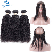 Sapphire Kinky Curly Remy Human Hair Bundles With 360 Lace Frontal Closure 1B Color Salon Hair