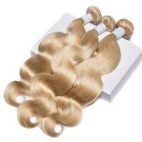 ALIBELE волос на теле волны блондинка пучки волос 613 Цвет 100% человеческих волос пучков расширение бразильского пучки волос плетение