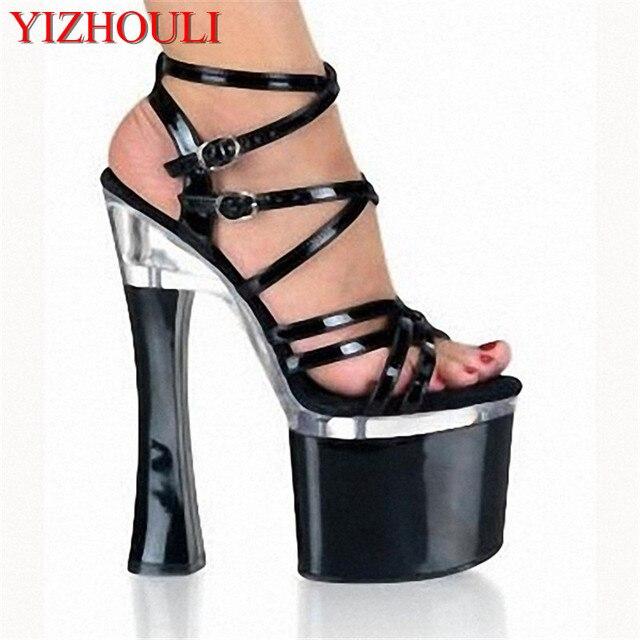 18 cm 7 polegada sexy gladiador de ultra saltos altos sandálias de dedo  aberto plataforma sapato e0e43a84e97c