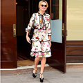 HIGH QUALITY New Fashion 2017 Designer Runway Dress Women's 3/4 Sleeve Bee Floral Printed Bow Ruffles Casual Dress