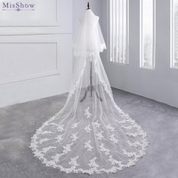 MisShow 2018 Beautiful White Ivory Schleier 2 Layers 3 Meters Long Wedding Veil Appliqued Lace Edge Bridal Veil