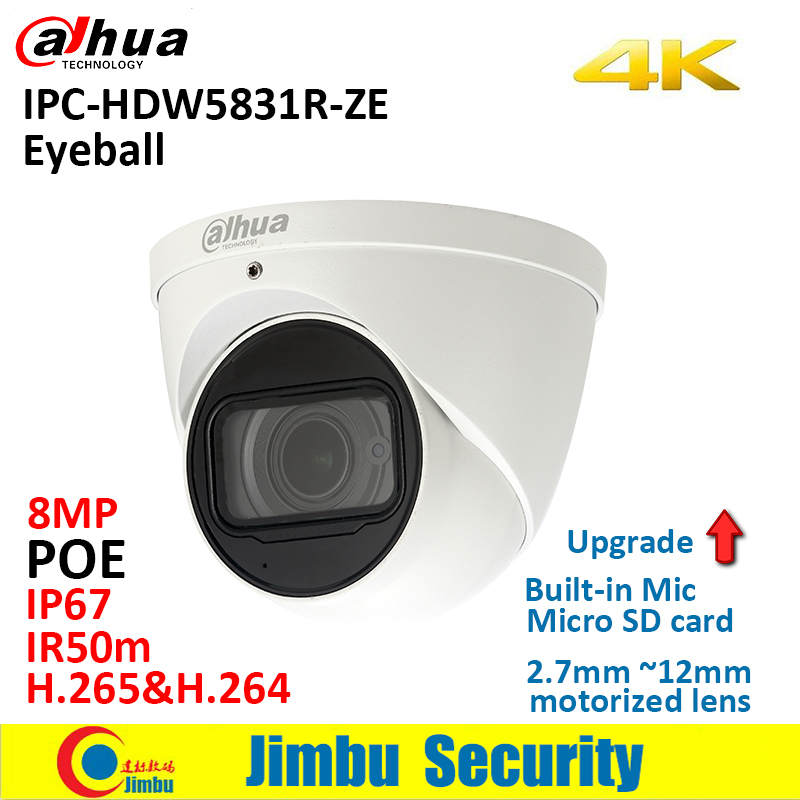 Dahua 4K IP camera IPC-HDW5831R-ZE 8MP WDR IR50m Eyeball IP67 POE 2.7mm ~12mm motorized lens Built-in Mic Micro SD slot 128GB free shipping dahua cctv camera 4k 8mp wdr ir mini bullet network camera ip67 with poe without logo ipc hfw4831e se