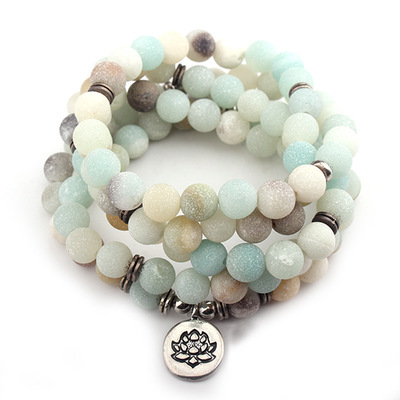 Personalized Macrame Women Bracelet Matte Amazonite Beads with Lotus OM Buddha Charm Yoga Bracelet 108 Mala Necklace Labradorite все цены
