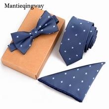Mantieqingway Wedding Striped Dot Necktie & Pocket Square Towel & Bow Tie Set Papillon Handkerchief Towel Corbatas Gravata