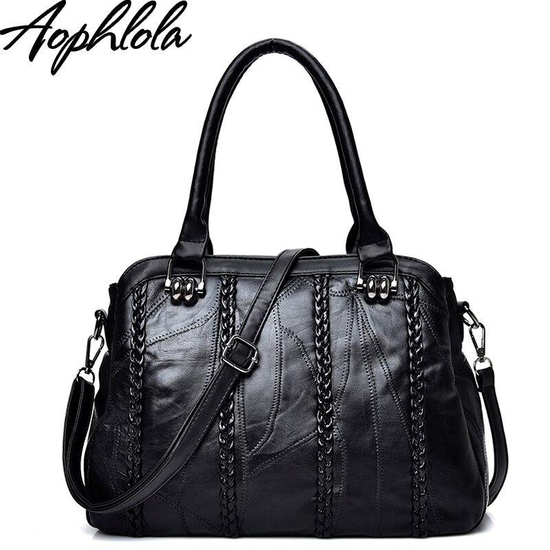 Aophlola Fashion Genuine Leather Handbag Women's Weave Black Sheepskin Leather Tote Bag Bolsas Female Shoulder Bag Crossbody Bag