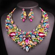 Nuevas preciosas joyas nupciales, conjunto de collar y pendientes de boda para novias, accesorios grandes de cristal, conjunto de collar de declaración