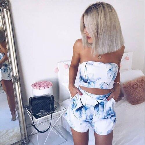 Frauen Sexy 2 Stücke Set Floral Bedruckte Mini Kleid Und Cropped Halter Top Mode 2018 Sommer Weiblichen Knopf Weste Shorts Set
