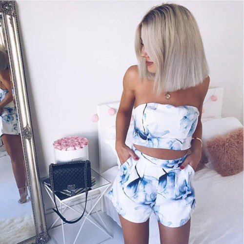 Women Sexy 2 Pieces Set Floral Printed Mini Dress And Cropped Halter Top Fashion 2018 Summer Female Button Vest Shorts Set