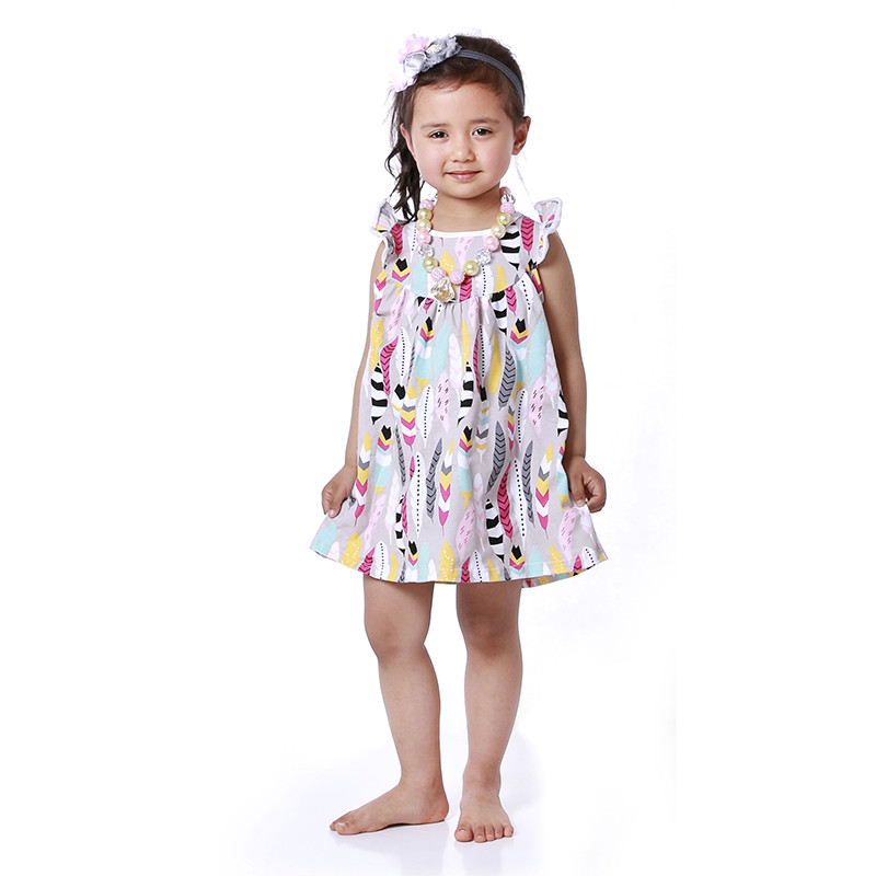 Girls Summer beach Dress Ruffle Sleeve girls dress Smocked
