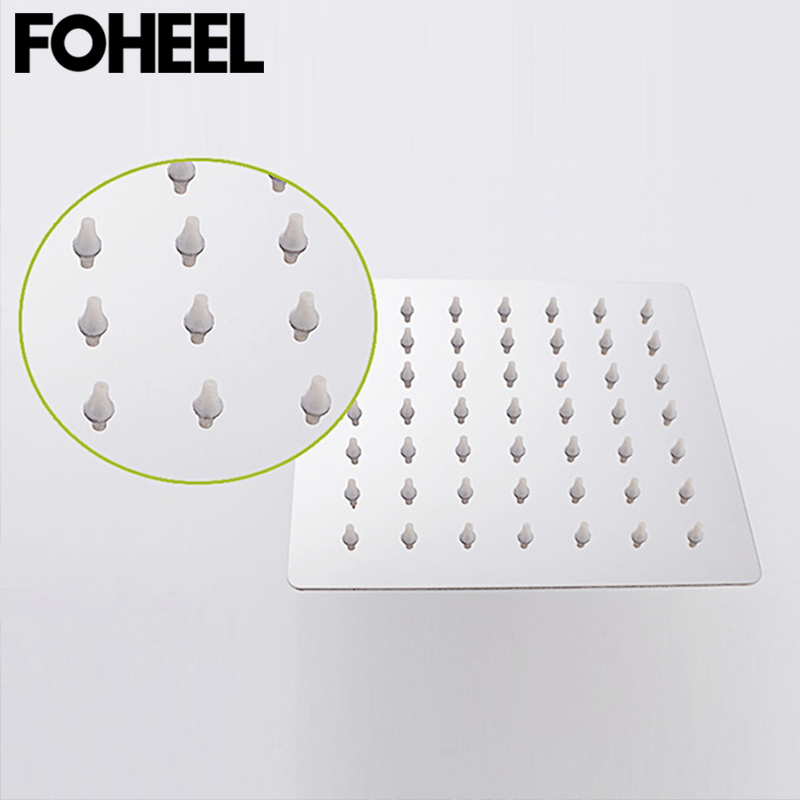 FOHEEL 6 and 8 inch shower head stainless steel brass shower head water saving bathroom rain spa square handheld shower head