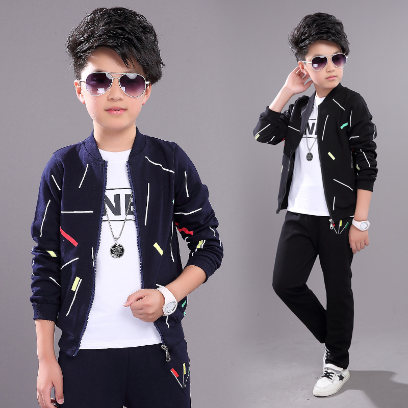3 Pcs Jackets + T-shirts + Pants Boys Clothing Sets 2018 Autumn Suits for Toddler Tracksuit Kids Casual Set Big Boy Clothes Sets 3 pcs girls clothes set autumn children clothing 2017 toddler girl clothing sets roupas infantis menino vest t shirts pants