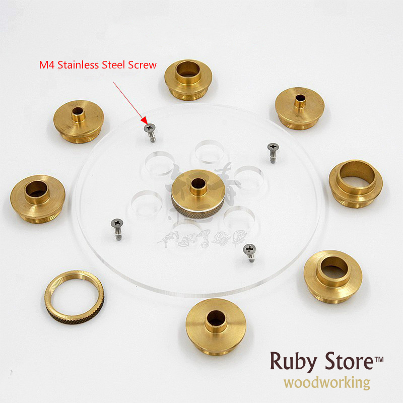 Set of Round Base Plate 10PCS Brass Router Template Guide Bushings in Hand Tool Sets from Tools