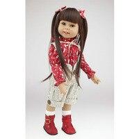 Al por mayor nuevo llegado americano 18 pulgadas muñeca de la muchacha hecha a mano realista lindo princesa toys con pelo largo sonriente chica muñecas