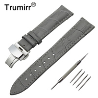 22mm Genuine Leather Watch Band For Vector Luna Meridian Stainless Butterfly Buckle Strap Wrist Belt Bracelet