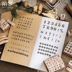 Image 2 - Vintage grundlegende Alphabet Anzahl charakter stempel DIY holz stempel für scrapbooking schreibwaren scrapbooking standard stempel