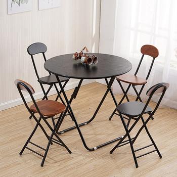 Zestaw ogrodowy meble ogrodowe meble meble ogrodowe okrągły 1 stół + 4 zestaw mebli z krzesłami balkon przenośny składany stół zestaw ogrodowy tanie i dobre opinie Ogród zestaw Nowoczesne Ecoz Metal iron