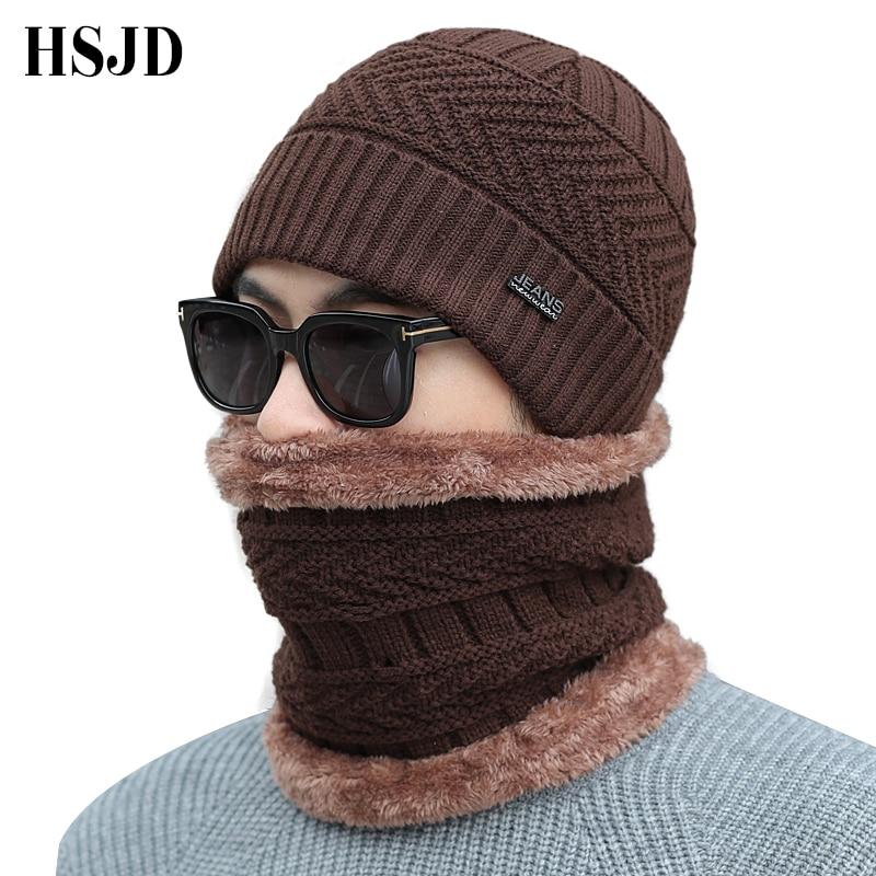 Men Knitted Hat Scarf Set Neck warmer winter hat knit cap Scarf 2 Pieces Winter Hats For men   Beanie   Knit Hat   Skullies     Beanies