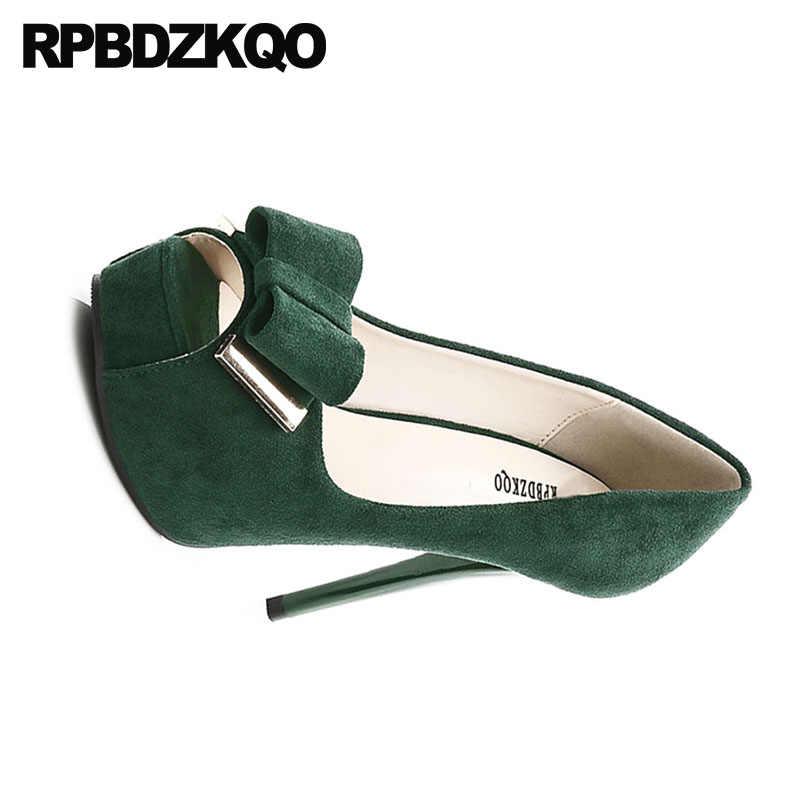 ... Catwalk Thin Fetish Black Extreme Green Platform Shoes Super Pumps 12cm  5 Inch Bow Ultra Ladies ... f3255a31c076