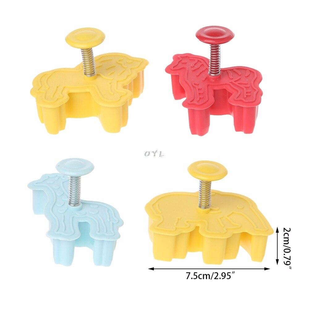 4Pcs 3D Animal Plastic Cookies Mold Fondant Cake Cutter Mould DIY Bakeware Tools