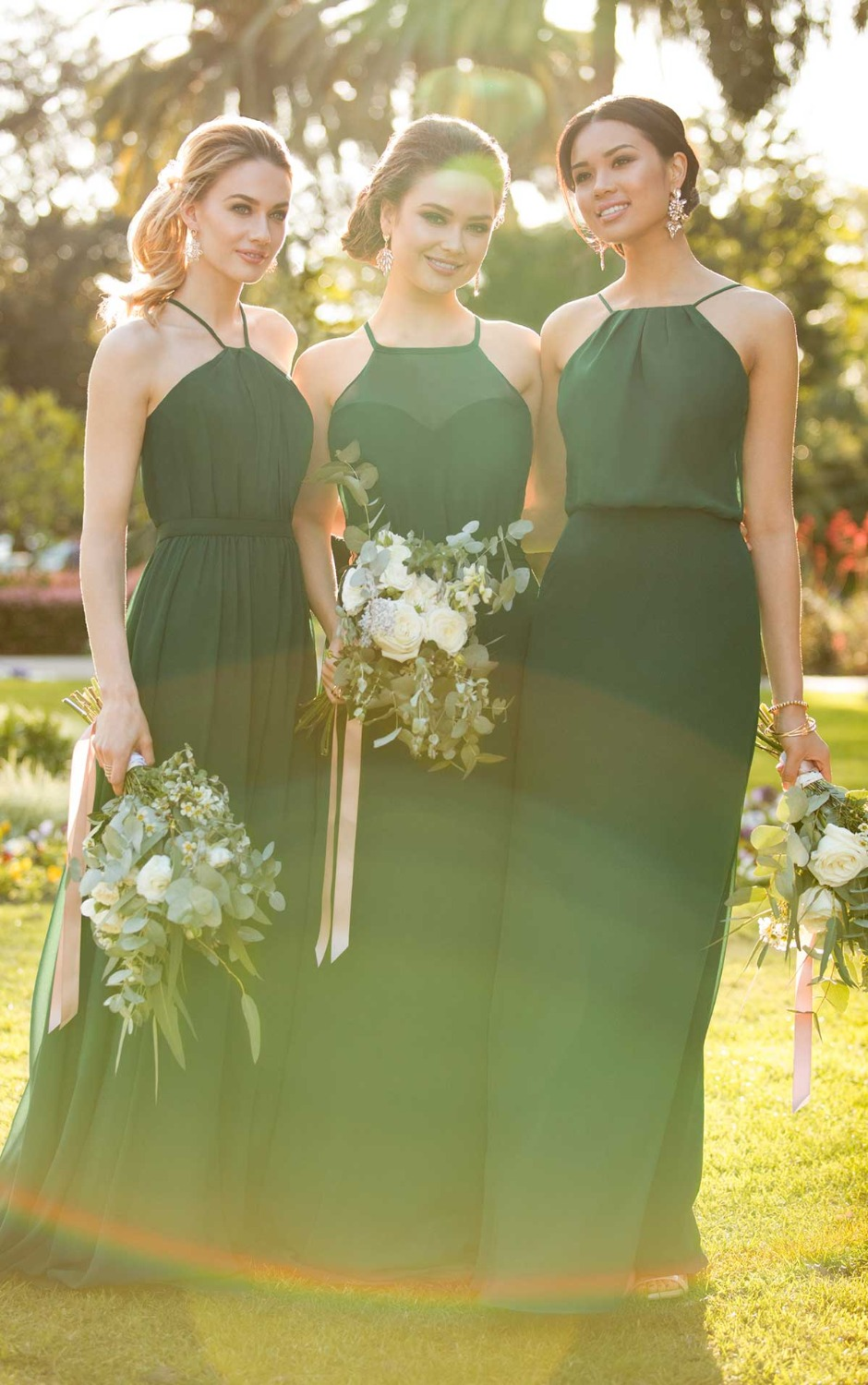 2019 New halter neckline.sleeveless floor-length chiffon   Bridesmaid     dress