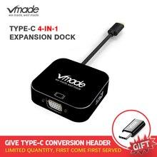 Vmade Mới Nhất 4 trong 1 Loại C USB C 3.0 HUB VGA Bộ Chuyển Đổi Mini cho Huawei/ samsung S8/S8 +/MacBook/MacBook Pro Type C Adapter Mini