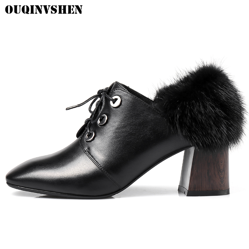 OUQINVSHEN Square Toe Square heel Women Boots Fashion Fur Ladies Ankle Boots 2017 New Genuine Leather Cross Tied Ladies Boots ouqinvshen round toe lace up women boots fashion mixed colors women ankle boots new winter short plush cross tied ladies boots
