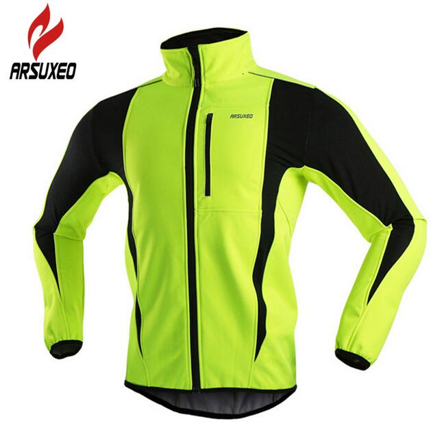ARSUXEO Winter Warm Up Thermal Fleece Cycling Jacket Bicycle MTB Road Bike Clothing Windproof Waterproof Long Jersey Jersey black thermal fleece cycling clothing winter fleece long adequate quality cycling jersey bicycle clothing cc5081