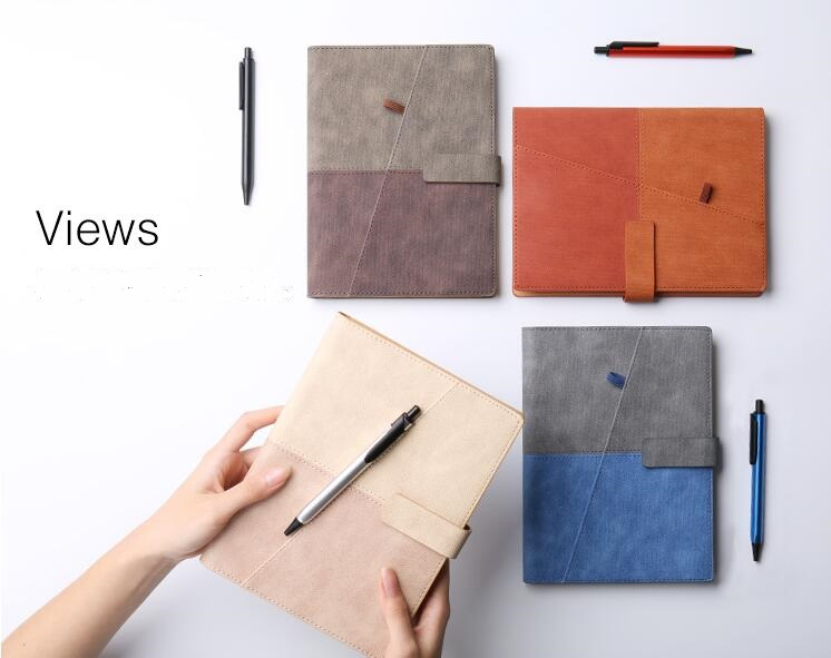 Creative New Business Travel Notebook A5 Loose Leaf Diary with Pens, Colors Matched Manager Personal Agenda Planner Notepad new creative retro leather strap notebook travel notepad loose leaf diary book customized logo for business meeting gifts n086