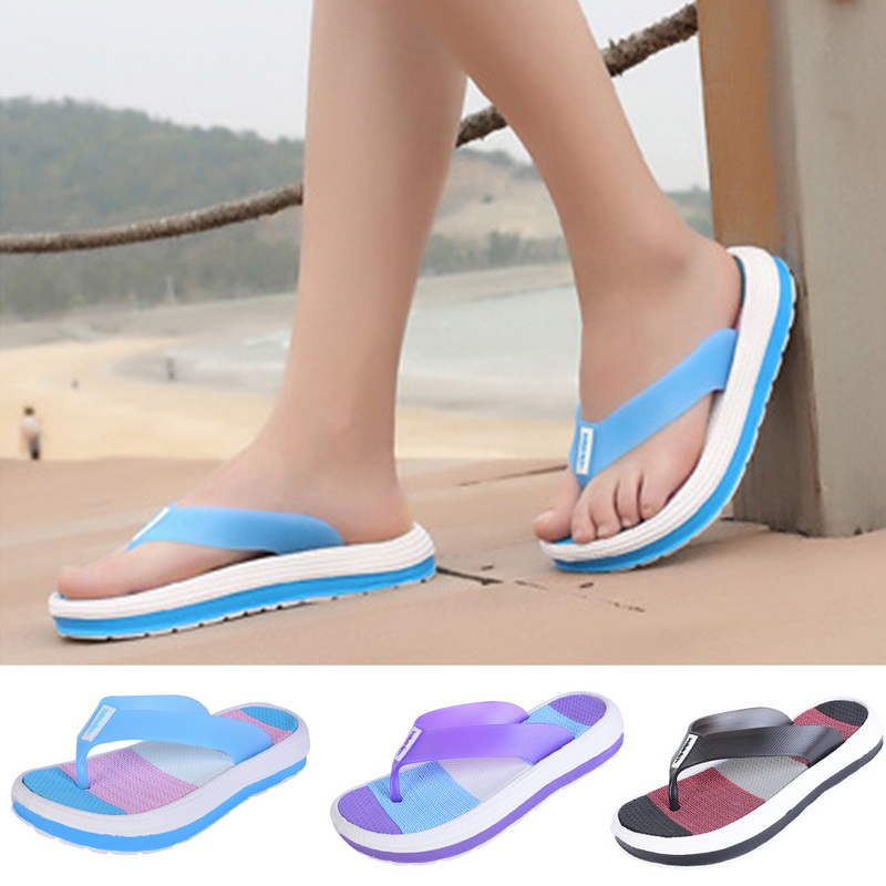 0e52f1ae5c6f Laamei 2018 Summer Slippers Women Casual Massage Durable Flip Flops Beach Sandals  Female Wedge Shoes Striped Lady Room Slippers -in Flip Flops from Shoes on  ...