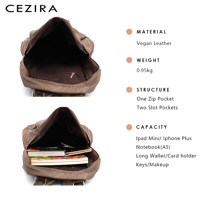 CEZIRA Fashion New Pu Vegan Leather Backpack Multi Zip Pockets Knapsack Women High Quality Bags Daily Holiday Shoulders Bags 4