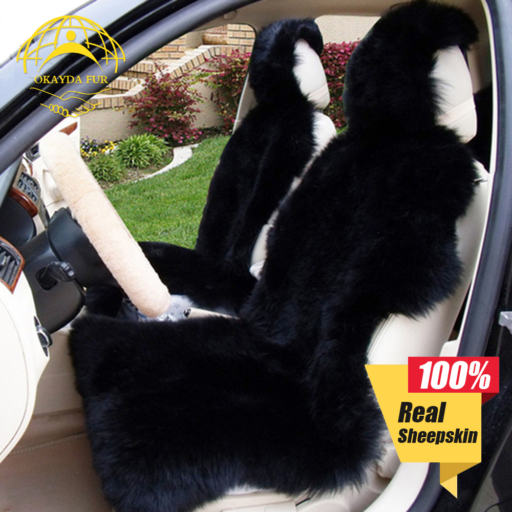 цена на Australia sheepskin car seat cover black style universal Interior accessories fur cushion deluxe car seat cover free shipping