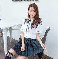 Girls New School Uniform Skirt Short Sleeve 2pcs Lady Women Suit Dress JK Uniform Female Student Dress Performance D 0181