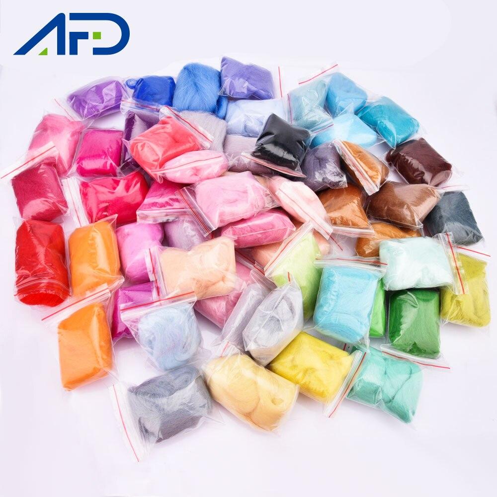 50 Colors Needle Felting Wool Roving Fibre DIY Felt Needlework Handcraft Fabric Material Wool Felt Kit For Small Toys DIY
