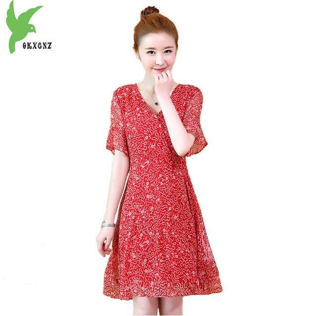 c32d6f5d4 Más tamaño 5XL verano mujeres vestido 2018 moda imprimir gasa vestido rojo  manga corta playa vestido
