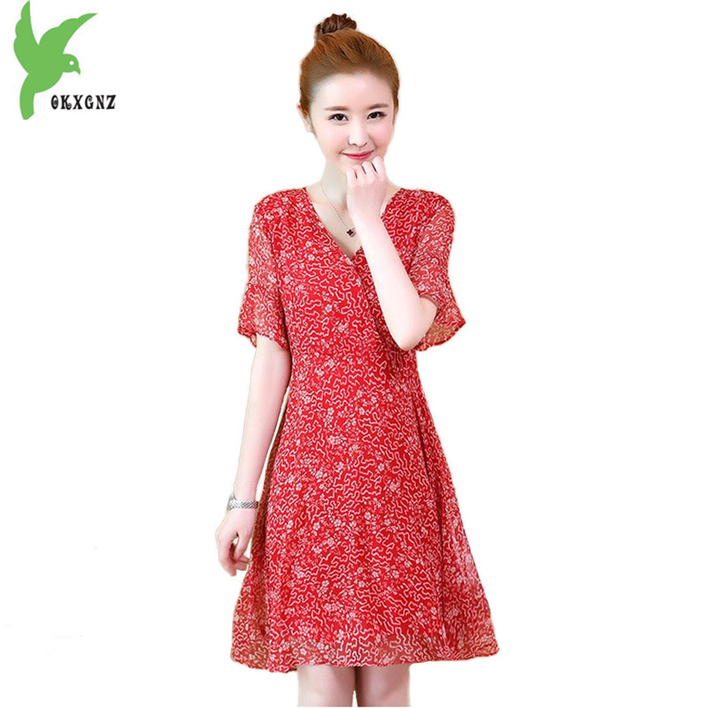 Plus Size 5XL summer dress women 2018 fashion print chiffon dress Red short sleeve Beach dress female elegant clothes OKXGNZ1824