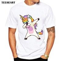 2017 Summer Fashion Dabbing Unicorn T Shirt Men Funny T Shirts Dabbing Hip Pop Unicorn Cat