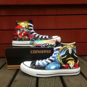 190384363b71 Converse All Star Fullmetal Alchemist Design Hand Painted Canvas Shoes